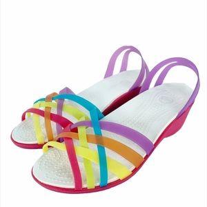 Crocs Rainbow Strappy Slip On Sandals